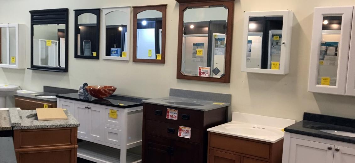 Bathroom vanity and medicine cabinet display area