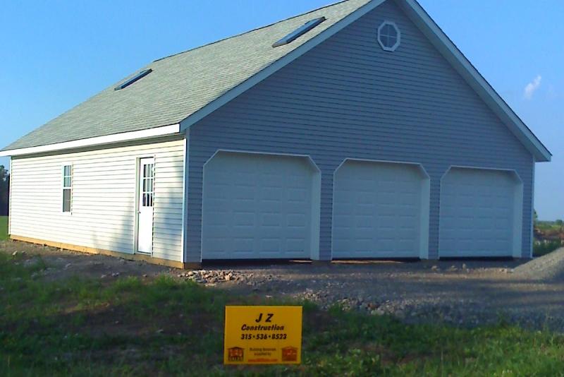 Pole barn-style 3-car garage